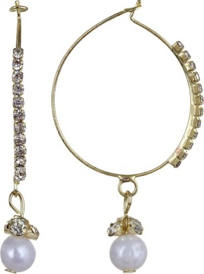 Fabula Gold & White Zircon American Diamond AD CZ & Pearl Traditional Ethnic Jewellery for Women, Girls & Ladies Metal Hoop Earring