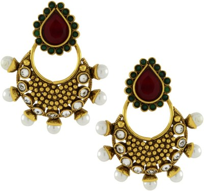 Naveli Artificial Jewellery Crystal, Ruby, Pearl Copper Chandbali Earring