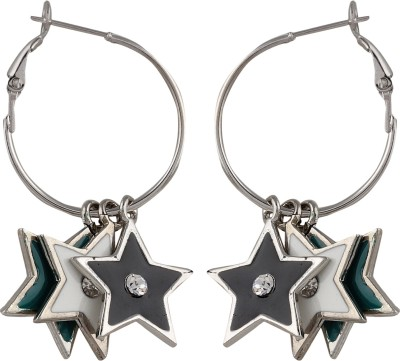 Crunchy Fashion Shine Like A Black White Hangging Star Alloy Hoop Earring