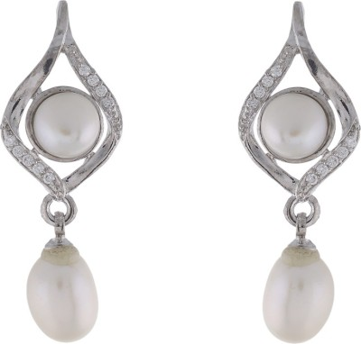 Jewel Planet Silver Plated with CZ Stone Pearl Alloy Drop Earring