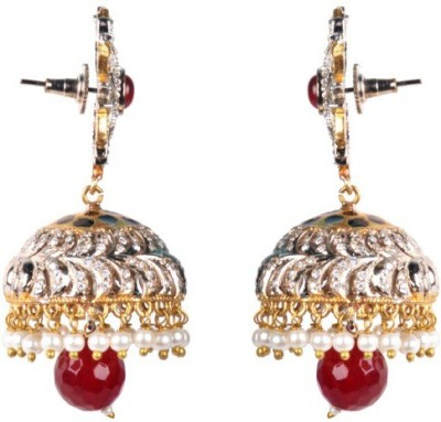Dipshi Traditional Antique Handmade Gold Plated Copper Pearl Jhumki Copper Jhumki Earring