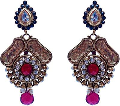 Kundaan Polki Pair Crystal Brass, Copper Drop Earring