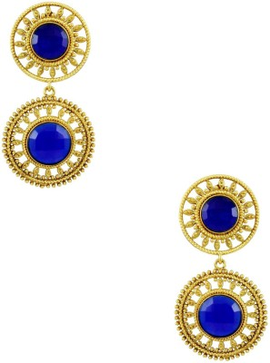 Orniza Victorian Fancy in Royal Blue Color with Golden Brass Drop Earring