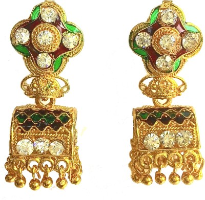 Jaipuria Delight Zircon Brass Jhumki Earring