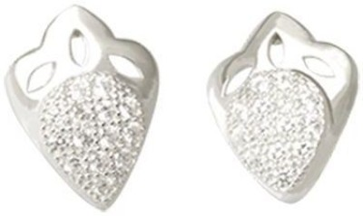 TUAN simply designed Diamond, Cubic Zirconia Sterling Silver Stud Earring