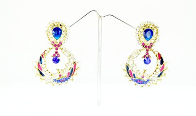 Chouhan Stylish Pink Blue 23 Metal Chandbali Earring