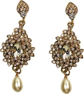 Gehnewala Floral Crystal Metal Drop Earring