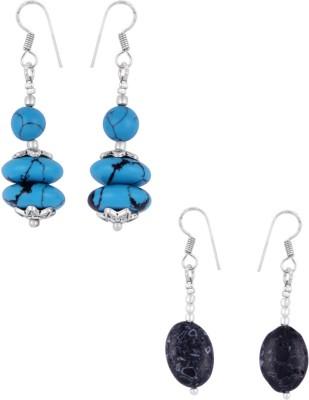Pearlz Ocean Little Zemi 2.5 Inches Howlite Beads Alloy Earring Set