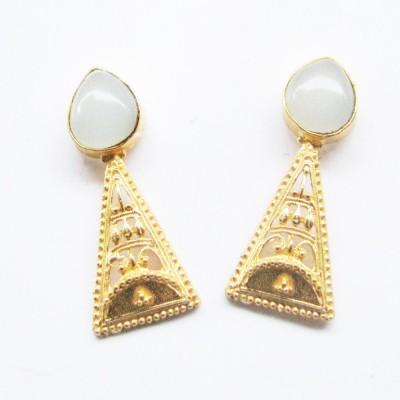 Bhrti semi precious Gold plated Aquamarine Brass Stud Earring