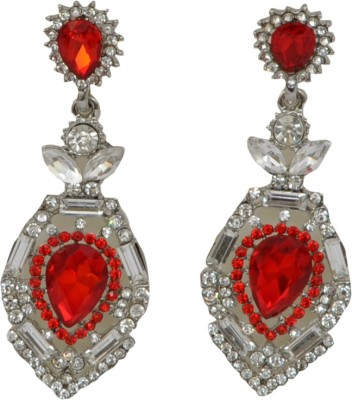 WoW Red Cubic Zircon Crystal Drop Earring