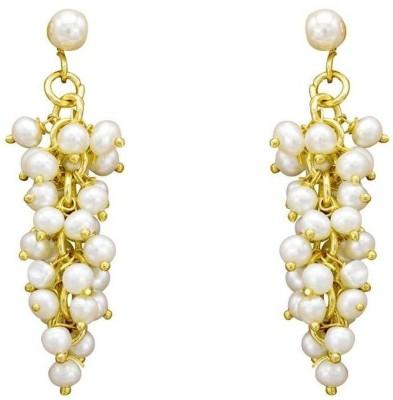 SJ Pearls Hanging Pearl Alloy Drop Earring
