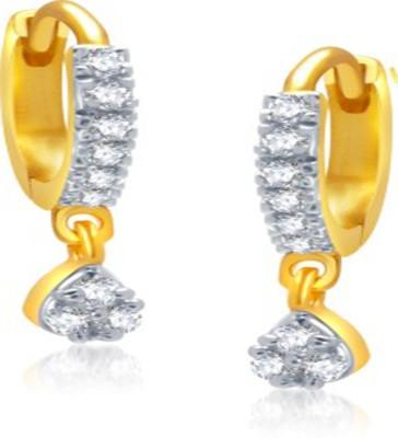 Bandish American Diamond Gold toned Bali Alloy Huggie Earring