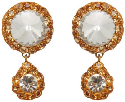 Jaipur Mart Designer Big Crystal Stud With Golden Rhinestone Lac Alloy Drop Earring
