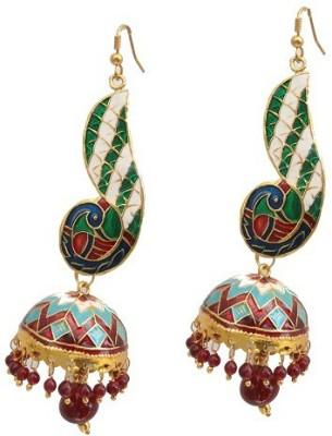 Kalaplanet Thewa Peacock Design Alloy Dangle Earring