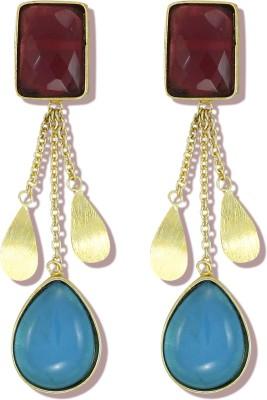 Zaveri Pearls Pink and Aqua Blue Semi Precious Stone Brass Tassel Earring