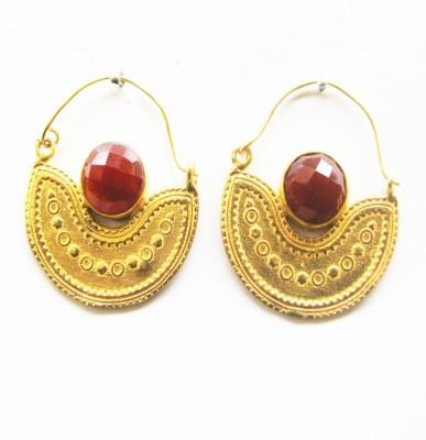 Gharaz semi precious Gold plated Onyx Brass Hoop Earring