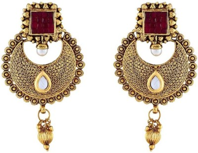 Jewlot Delightful Kundan 1076 Metal Chandbali Earring