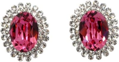 Royal Sterling Pink Oval Swarovski Crystal Alloy Stud Earring