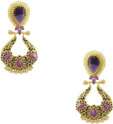 Orniza Rajwadi Earrings in Purple Color and Golden Polish Brass Dangle Earring