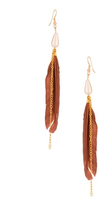 Voylla Artificial Classic Plain Pearl Alloy Dangle Earring