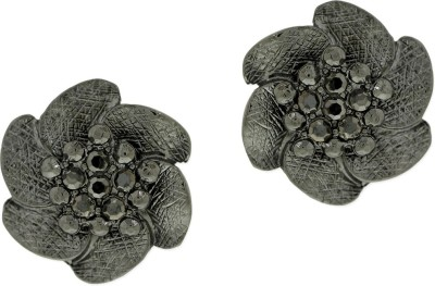 Oomph Black Crystal Fashion Jewellery for Women, Girls & Ladies Metal Stud Earring
