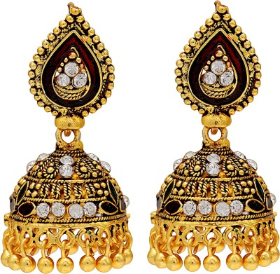 Memoir Gold Plated Red Meena Swiss Crystal Studded Medium Sized Party Wear Brass Jhumki Earring