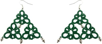 Techpro Green Tatted Silver bead Fabric Dangle Earring