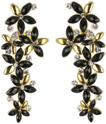 000 Fashions Exquisite Design Black and Gold Crystal Alloy Alloy Drop Earring