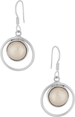 Gemshop CHIC STERLING 92.5 STUDDED WITH MOTI Silver Hoop Earring