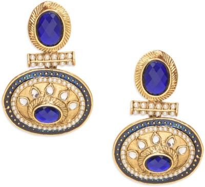 Amroha Crafts Royal blue elliptical Metal Drop Earring