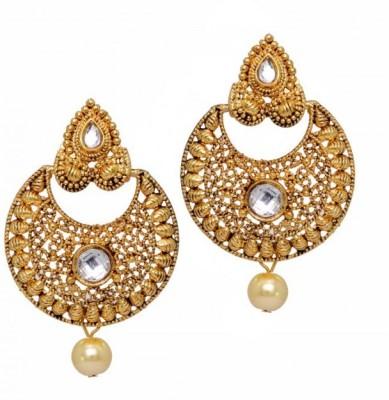 Jewelskaro Dangler Latest Antique Designs Partywear High Gold Polish South Indian Fashion Earring for Women & Girls Pearl Brass Chandbali Earring