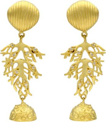 Eighth Fold Gold Shell Dangler Zircon Brass Drop Earring