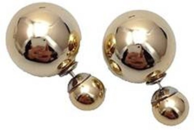 Crazytowear Gold Dual Side Zircon Alloy Stud Earring
