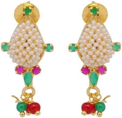 Jaipur Mart Milti Color Small Stones Small Beads Work Round Alloy Drop Earring