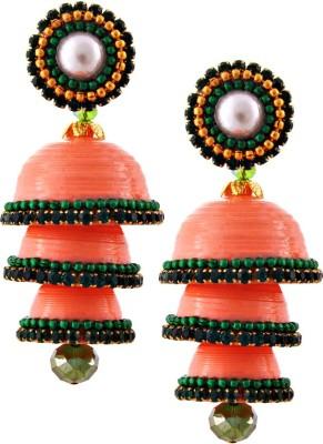 Jaipur Raga Hancrafted Single Stud Orange Triple Jhumka Brass Jhumki Earring