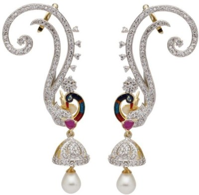 Sale Funda Peacock er0024 Pearl, Crystal, Zircon White Metal Cuff Earring