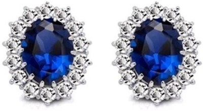 Caratcube Sapphire Blue Silver 18K White Gold Plated AustrianKate Middleton's Princess Diana Inspired Crystal Alloy Stud Earring