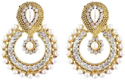 Jewels Guru Diva Style Pearl Alloy Chandbali Earring at flipkart
