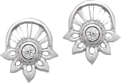 Om Jewells Floral Round Cubic Zirconia Sterling Silver Stud Earring