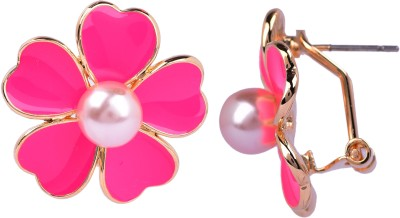 Maisha Princess Pink,White And Gold. Alloy Stud Earring