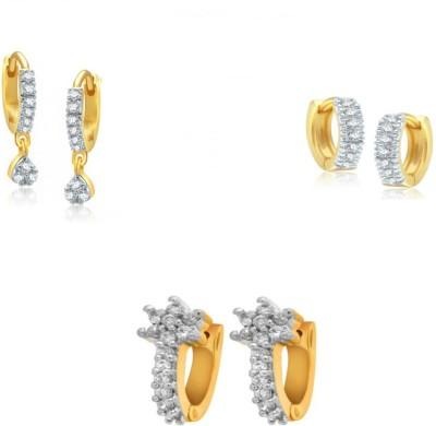 Jewels Guru Diva Style Cubic Zirconia Brass Earring Set