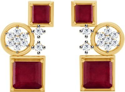 JacknJewel Ruby Enchanting Yellow Gold 18kt Diamond Stud Earring