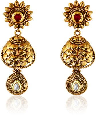 Royal Bling Bright Imbricate Rusty Copper Drop Earring