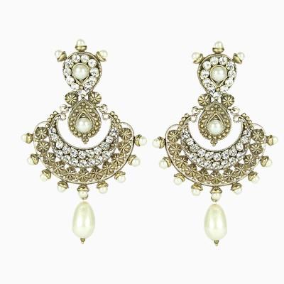 Artisan White Stone & Pearl Earrings Metal Chandelier Earring