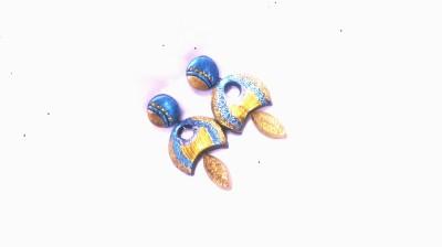 srisakthiterracotta goldenblue Terracotta Chandbali Earring