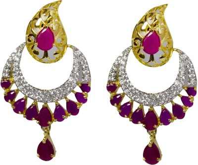 Jewelgrab Sai-Ad-Ruby-Dangler Alloy Chandbali Earring