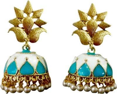 Deco Junction Bollywood Style Ethnic Gold And Blue Alloy Jhumki Earring