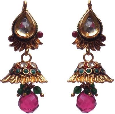 Kundaan Polki Special Crystal Copper, Alloy Jhumki Earring