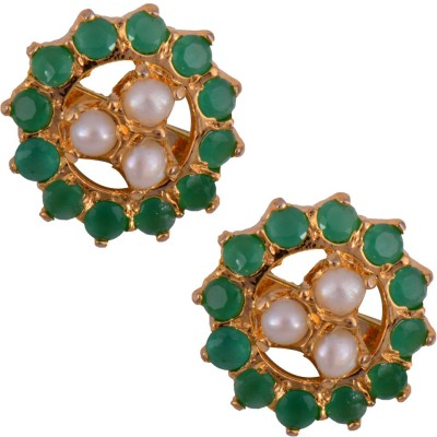 Mahaveer Pearls Green & White Fashion Brass Stud Earring