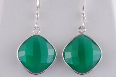 Tiwari Green Onyx Sterling Silver Dangle Earring